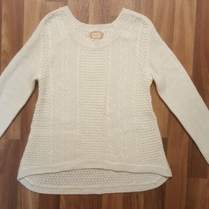 Ambiance Cream Crew Neck Cable Knit Large Sweater